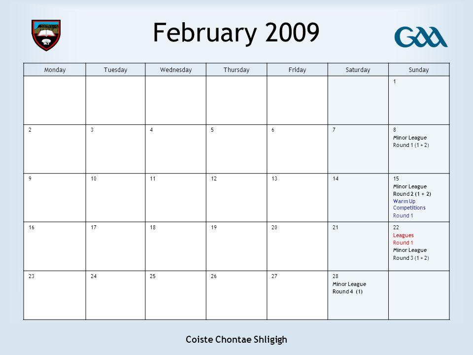 Coiste Chontae Shligigh February 2009 MondayTuesdayWednesdayThursdayFridaySaturdaySunday 1 2345678 Minor League Round 1 (1 + 2) 9101112131415 Minor Le