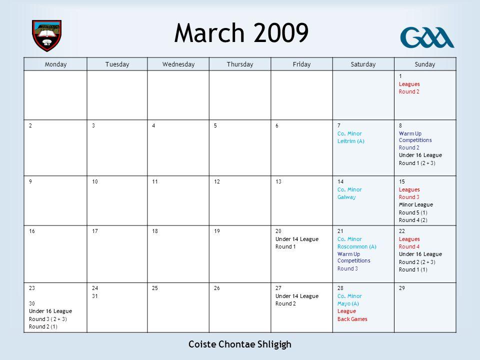 Coiste Chontae Shligigh March 2009 MondayTuesdayWednesdayThursdayFridaySaturdaySunday 1 Leagues Round 2 234567 Co.