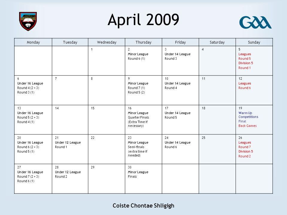 Coiste Chontae Shligigh April 2009 MondayTuesdayWednesdayThursdayFridaySaturdaySunday 12 Minor League Round 6 (1) 3 Under 14 League Round 3 45 Leagues