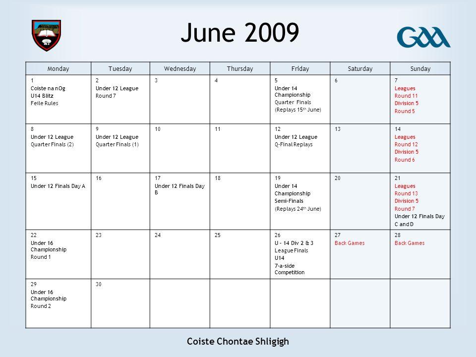 Coiste Chontae Shligigh June 2009 MondayTuesdayWednesdayThursdayFridaySaturdaySunday 1 Coiste na nOg U14 Blitz Feile Rules 2 Under 12 League Round 7 3