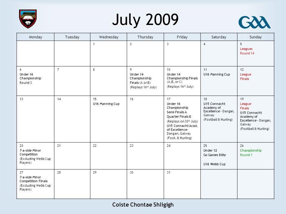 Coiste Chontae Shligigh July 2009 MondayTuesdayWednesdayThursdayFridaySaturdaySunday 12345 Leagues Round 14 6 Under 16 Championship Round 3 789 Under
