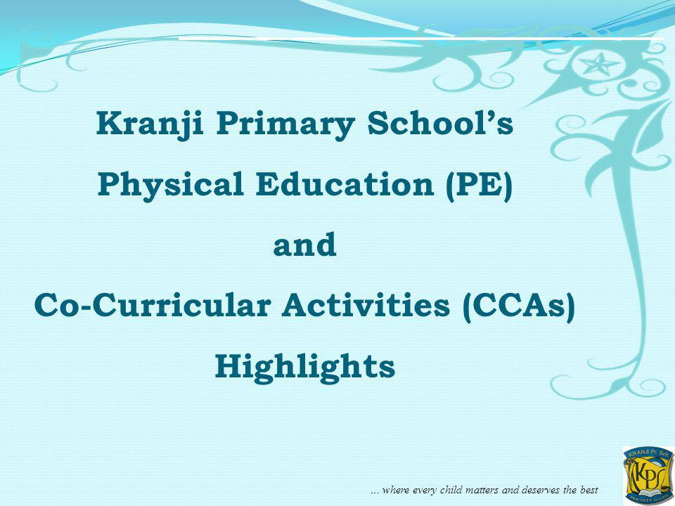 … where every child matters and deserves the best Kranji Primary Schools Physical Education (PE) and Co-Curricular Activities (CCAs) Highlights