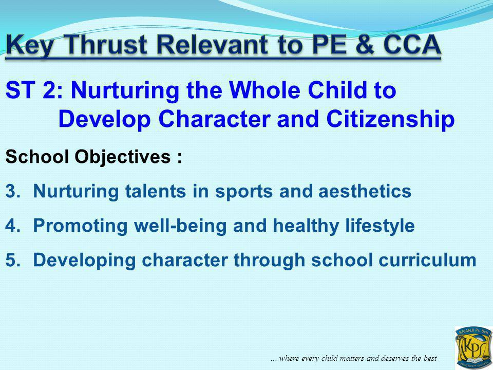 ST 2: Nurturing the Whole Child to Develop Character and Citizenship School Objectives : 3.Nurturing talents in sports and aesthetics 4.Promoting well