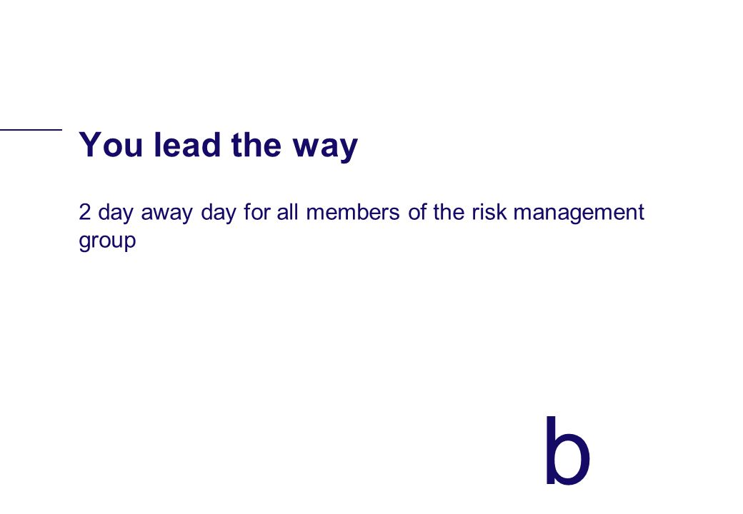 b You lead the way 2 day away day for all members of the risk management group