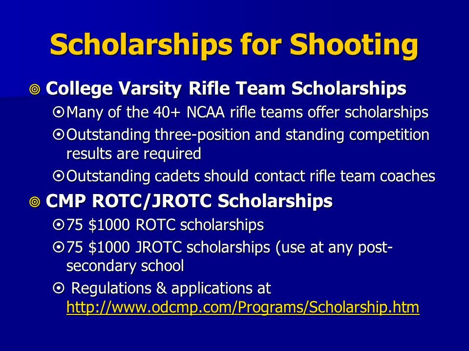 Scholarships for Shooting College Varsity Rifle Team Scholarships College Varsity Rifle Team Scholarships Many of the 40+ NCAA rifle teams offer schol