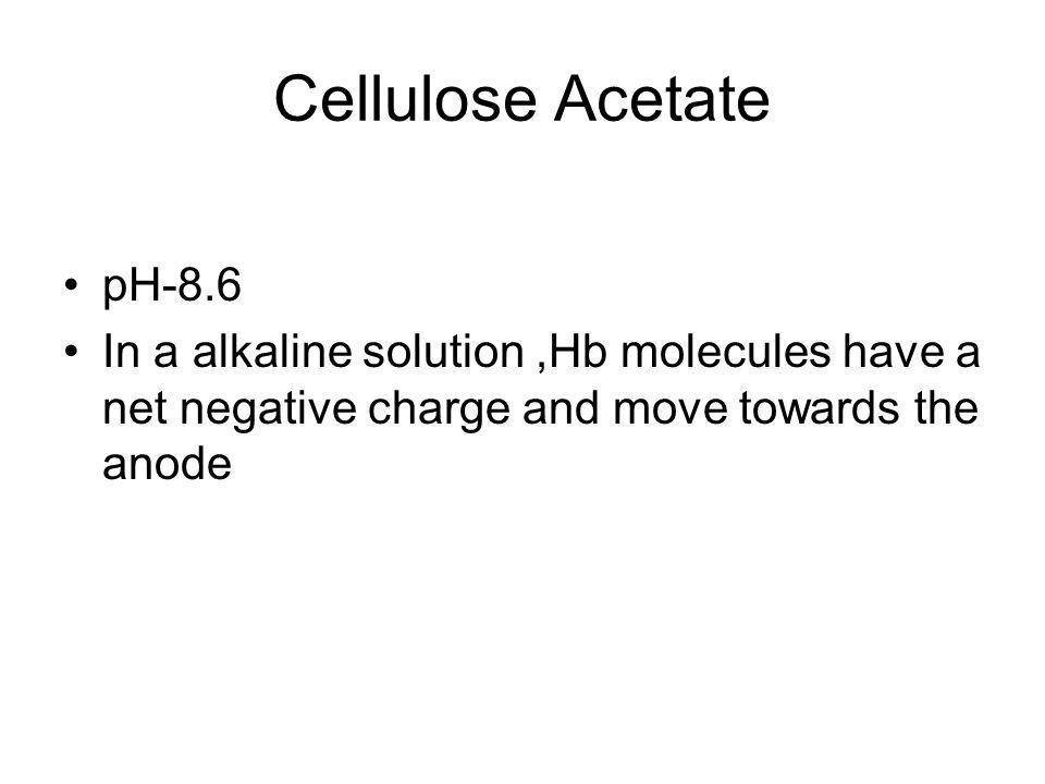 Cellulose Acetate pH-8.6 In a alkaline solution,Hb molecules have a net negative charge and move towards the anode