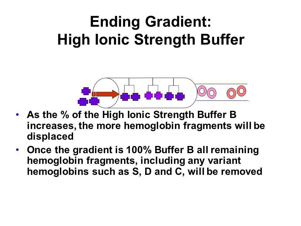 Ending Gradient: High Ionic Strength Buffer As the % of the High Ionic Strength Buffer B increases, the more hemoglobin fragments will be displaced On
