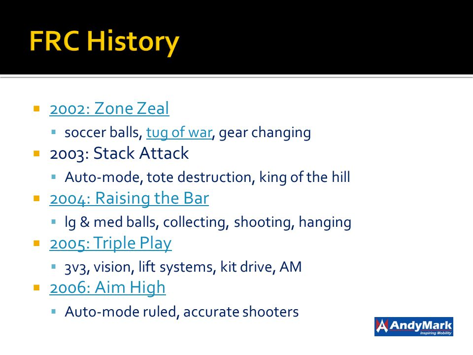 2002: Zone Zeal soccer balls, tug of war, gear changingtug of war 2003: Stack Attack Auto-mode, tote destruction, king of the hill 2004: Raising the B