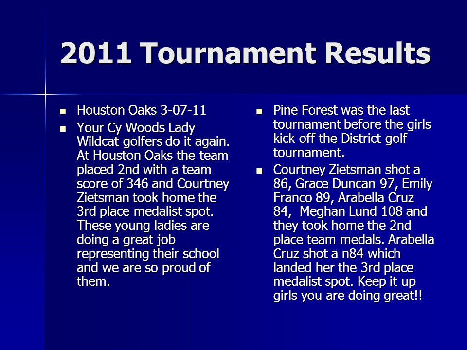 2011 Tournament Results Houston Oaks 3-07-11 Houston Oaks 3-07-11 Your Cy Woods Lady Wildcat golfers do it again.