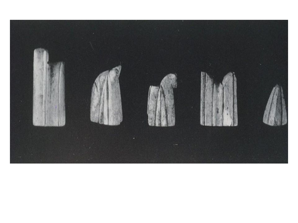 Ninth century chess pieces of abstract form, showing the influence of the Islamic prohibition against creating images of animals