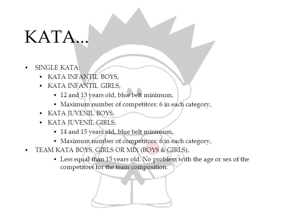 KATA Rules...(WKF) SINGLE KATA: KATA INFANTIL: Always Basic Kata, You need 3 katas, First Kata cant repeat in the next rounds, From second round to the final always different kata (you cant repeat the previous kata), At the final, you can do Kata from the Youth List, KATA JUVENIL: The same than Infantil category, First Kata, Basic Kata and cant repeat in the next rounds, From second round to the final always different kata (you cant repeat the previous kata).