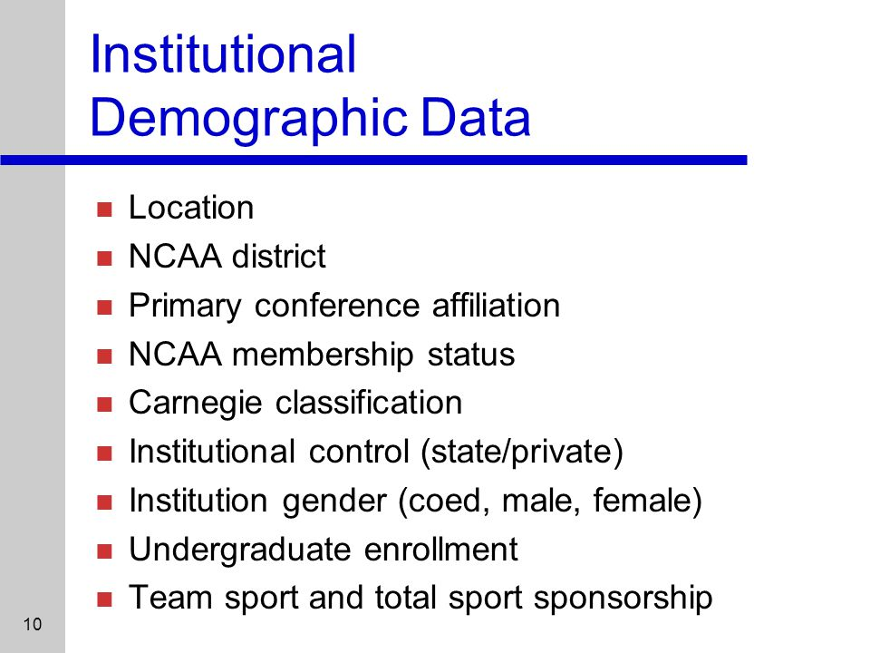 10 Institutional Demographic Data Location NCAA district Primary conference affiliation NCAA membership status Carnegie classification Institutional control (state/private) Institution gender (coed, male, female) Undergraduate enrollment Team sport and total sport sponsorship