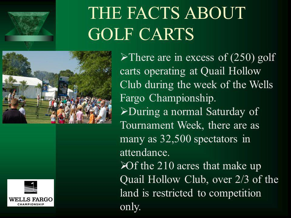 There are in excess of (250) golf carts operating at Quail Hollow Club during the week of the Wells Fargo Championship.