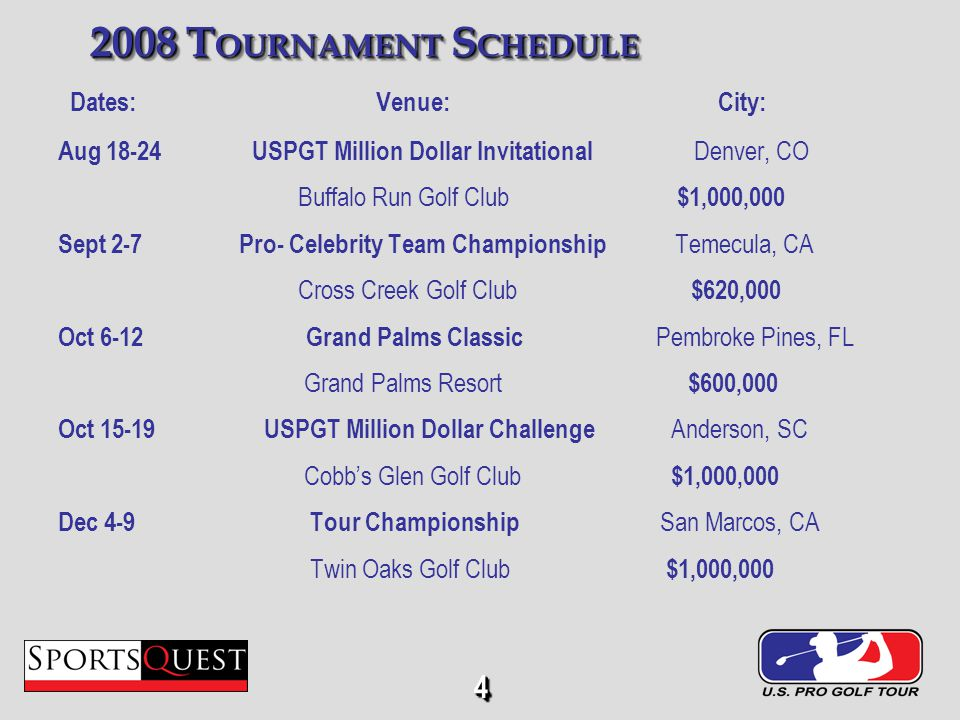 4 2008 T OURNAMENT S CHEDULE Dates: Venue: City: Aug 18-24 USPGT Million Dollar Invitational Denver, CO Buffalo Run Golf Club $1,000,000 Sept 2-7 Pro- Celebrity Team Championship Temecula, CA Cross Creek Golf Club $620,000 Oct 6-12 Grand Palms Classic Pembroke Pines, FL Grand Palms Resort $600,000 Oct 15-19 USPGT Million Dollar Challenge Anderson, SC Cobbs Glen Golf Club $1,000,000 Dec 4-9 Tour Championship San Marcos, CA Twin Oaks Golf Club $1,000,000 44
