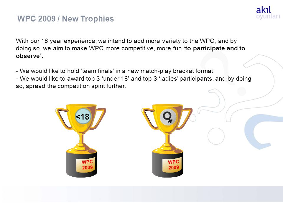 With our 16 year experience, we intend to add more variety to the WPC, and by doing so, we aim to make WPC more competitive, more fun to participate and to observe.