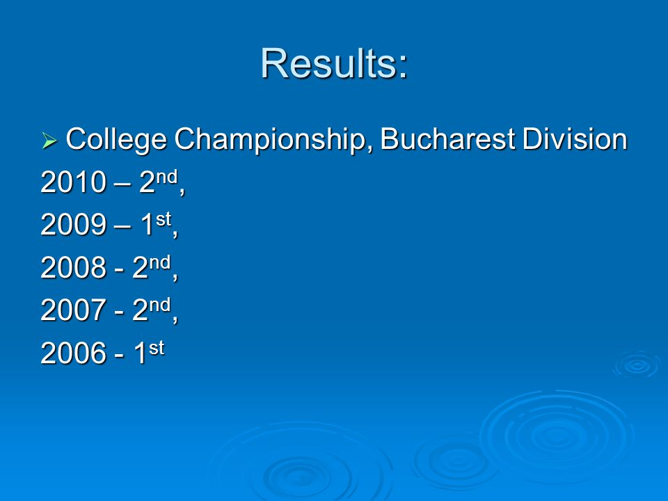 Results: College Championship, Bucharest Division College Championship, Bucharest Division 2010 – 2 nd, 2009 – 1 st, 2008 - 2 nd, 2007 - 2 nd, 2006 - 1 st