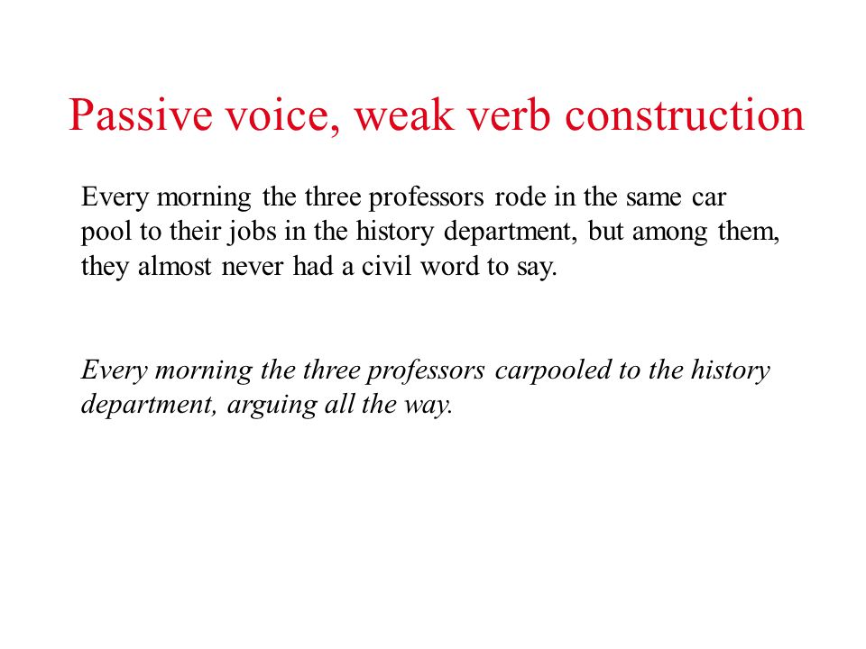 Passive voice, weak verb construction Every morning the three professors rode in the same car pool to their jobs in the history department, but among them, they almost never had a civil word to say.