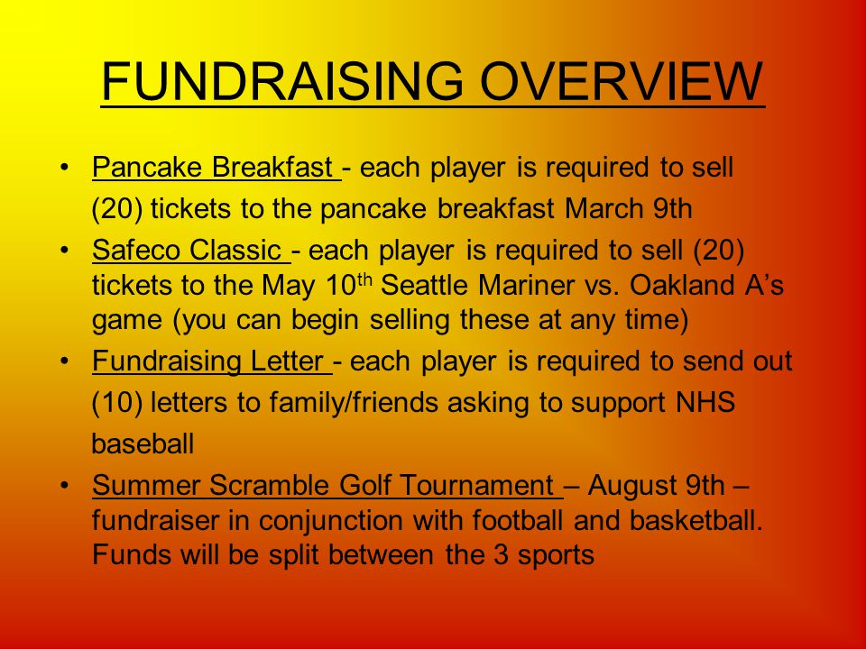 FUNDRAISING OVERVIEW Pancake Breakfast - each player is required to sell (20) tickets to the pancake breakfast March 9th Safeco Classic - each player is required to sell (20) tickets to the May 10 th Seattle Mariner vs.