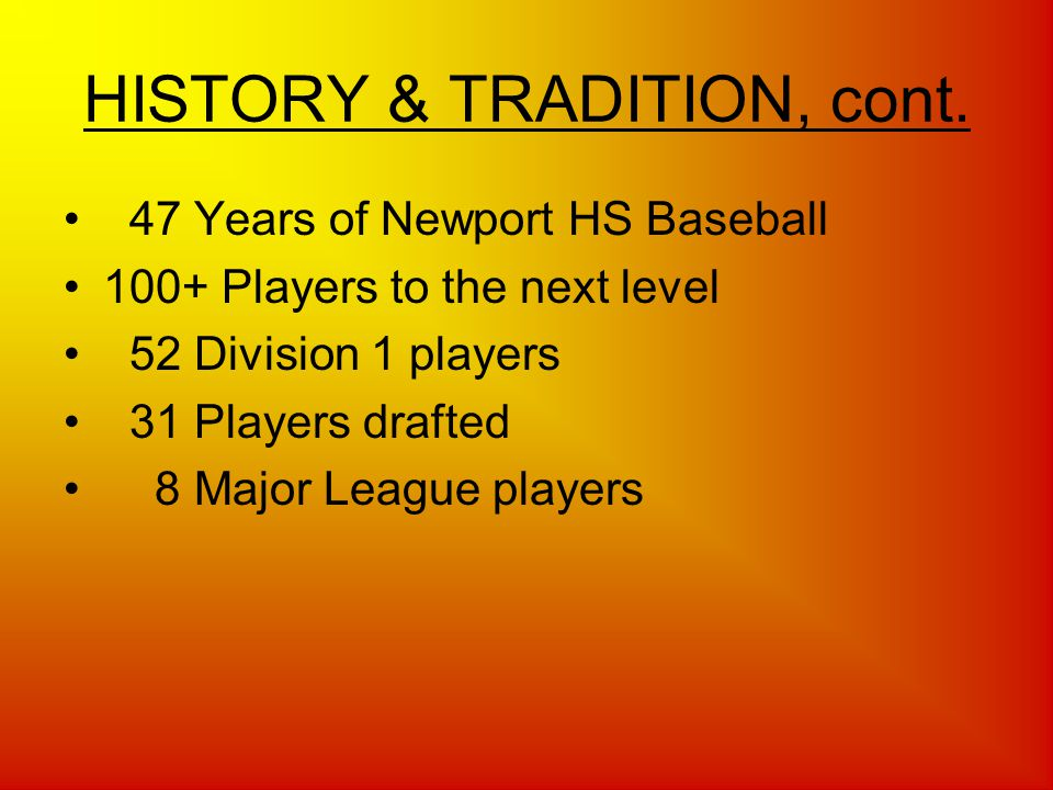 Triple Play Booster Club (TPC) Supporting the traditions of Newport Baseball by connecting our past, present and future Please welcome Triple Play Club (TPC) Booster President Jeff Wiper