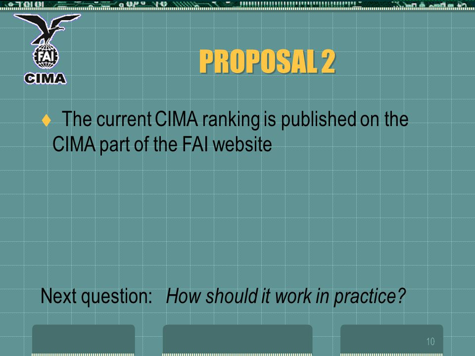 10 PROPOSAL 2 The current CIMA ranking is published on the CIMA part of the FAI website Next question: How should it work in practice