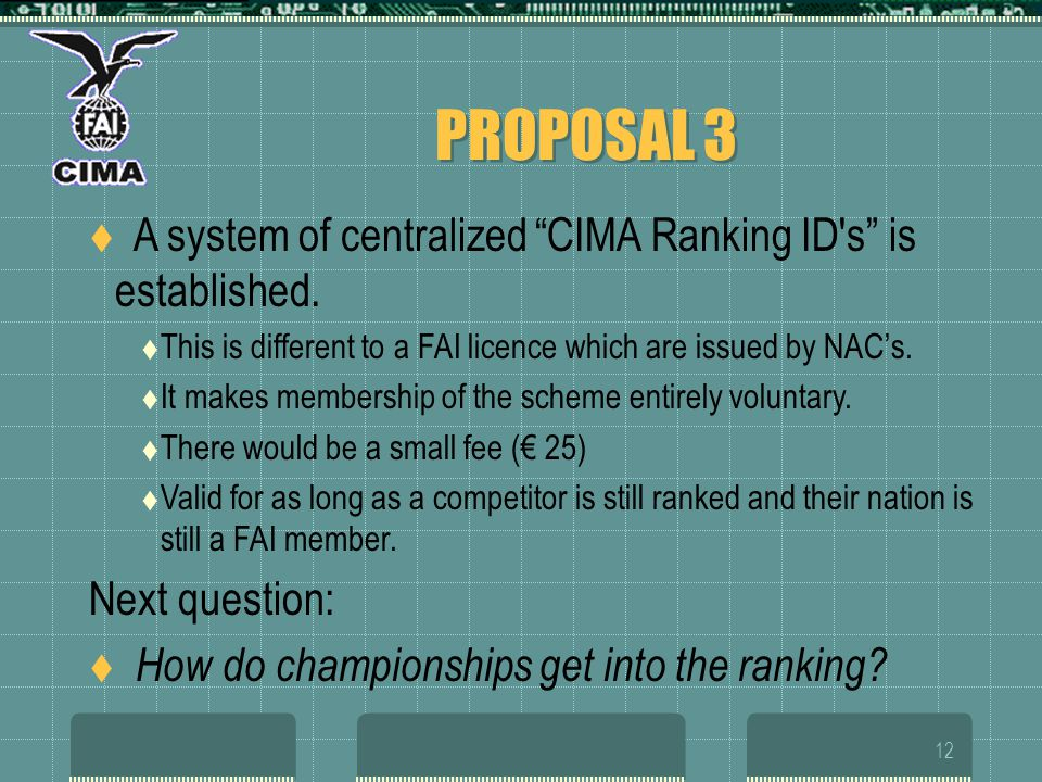 12 PROPOSAL 3 A system of centralized CIMA Ranking ID s is established.