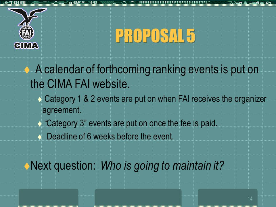 14 PROPOSAL 5 A calendar of forthcoming ranking events is put on the CIMA FAI website. Category 1 & 2 events are put on when FAI receives the organize
