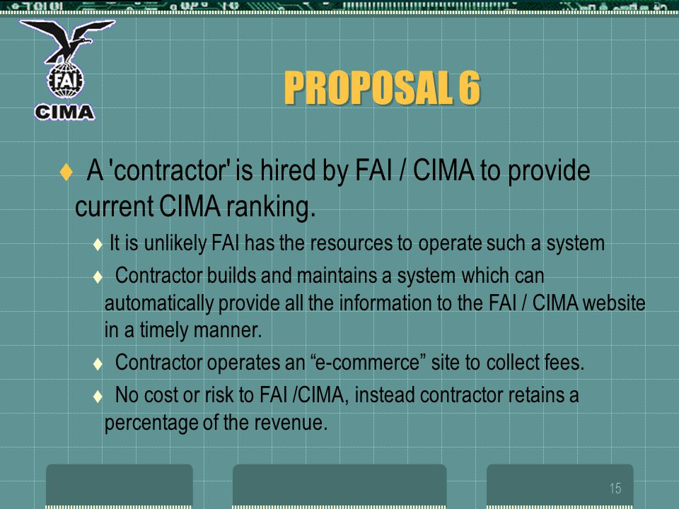 15 PROPOSAL 6 A 'contractor' is hired by FAI / CIMA to provide current CIMA ranking. It is unlikely FAI has the resources to operate such a system Con