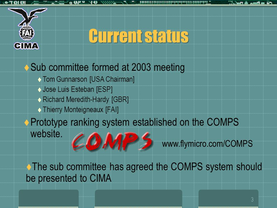 3 Current status Sub committee formed at 2003 meeting Tom Gunnarson [USA Chairman] Jose Luis Esteban [ESP] Richard Meredith-Hardy [GBR] Thierry Monteigneaux [FAI] Prototype ranking system established on the COMPS website.