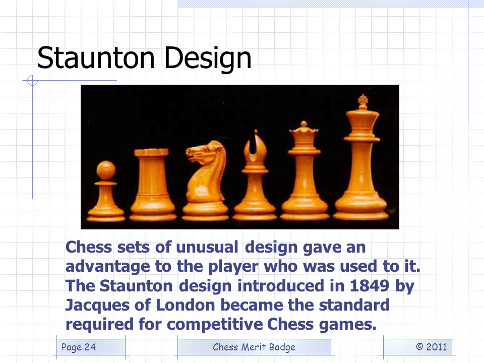 Staunton Design © 2011Chess Merit BadgePage 24 Chess sets of unusual design gave an advantage to the player who was used to it.