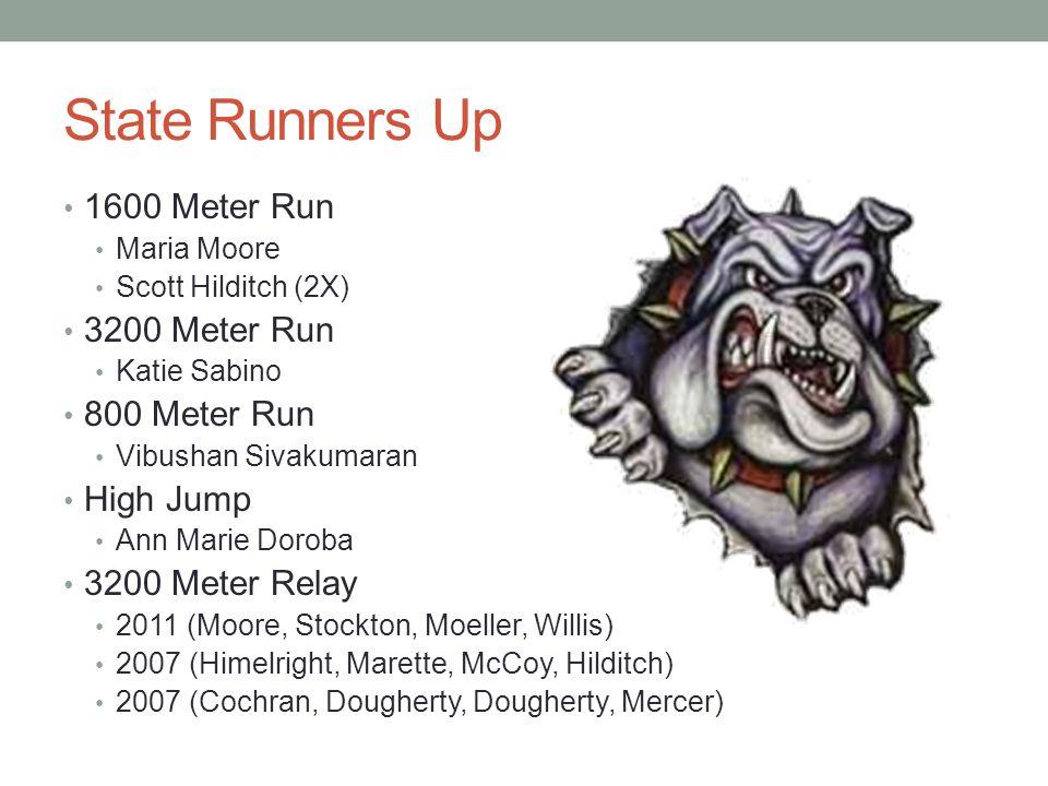 State Runners Up 1600 Meter Run Maria Moore Scott Hilditch (2X) 3200 Meter Run Katie Sabino 800 Meter Run Vibushan Sivakumaran High Jump Ann Marie Dor