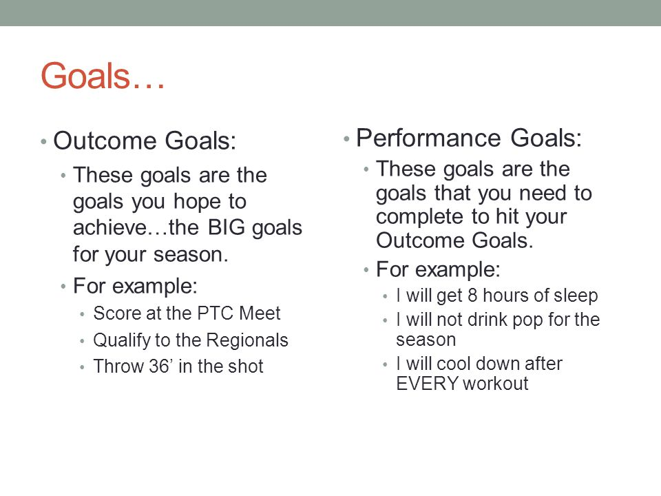 Goals… Outcome Goals: These goals are the goals you hope to achieve…the BIG goals for your season. For example: Score at the PTC Meet Qualify to the R