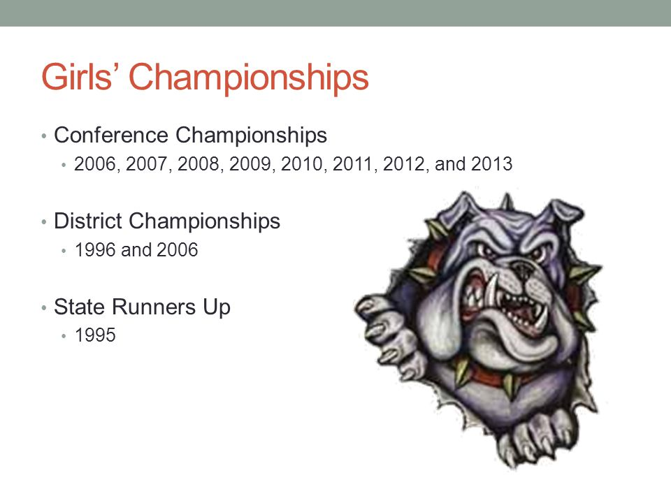 Girls Championships Conference Championships 2006, 2007, 2008, 2009, 2010, 2011, 2012, and 2013 District Championships 1996 and 2006 State Runners Up