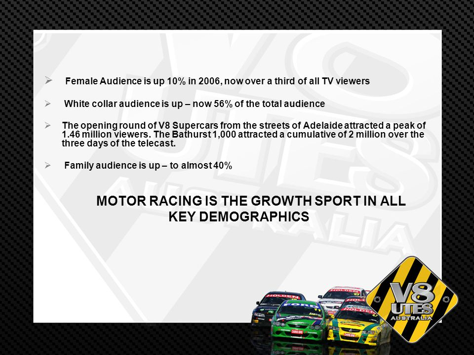 Female Audience is up 10% in 2006, now over a third of all TV viewers White collar audience is up – now 56% of the total audience The opening round of V8 Supercars from the streets of Adelaide attracted a peak of 1.46 million viewers.