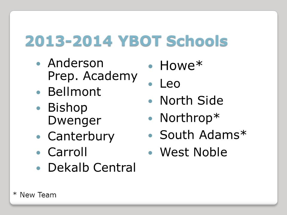2013-2014 YBOT Schools Howe* Leo North Side Northrop* South Adams* West Noble * New Team Anderson Prep.
