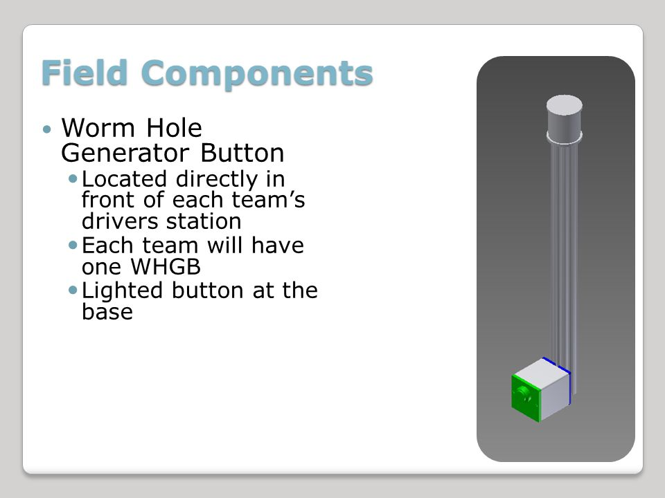 Field Components Worm Hole Generator Button Located directly in front of each teams drivers station Each team will have one WHGB Lighted button at the base