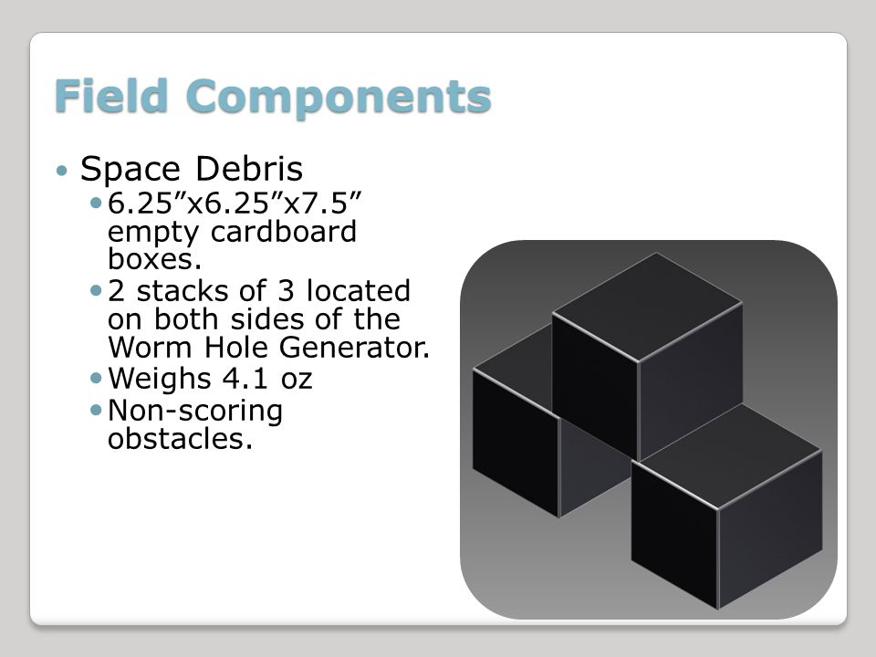 Field Components Space Debris 6.25x6.25x7.5 empty cardboard boxes.