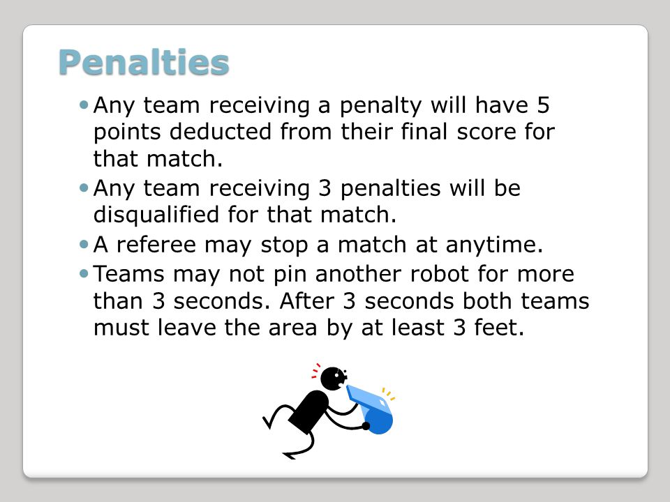 Penalties Any team receiving a penalty will have 5 points deducted from their final score for that match.