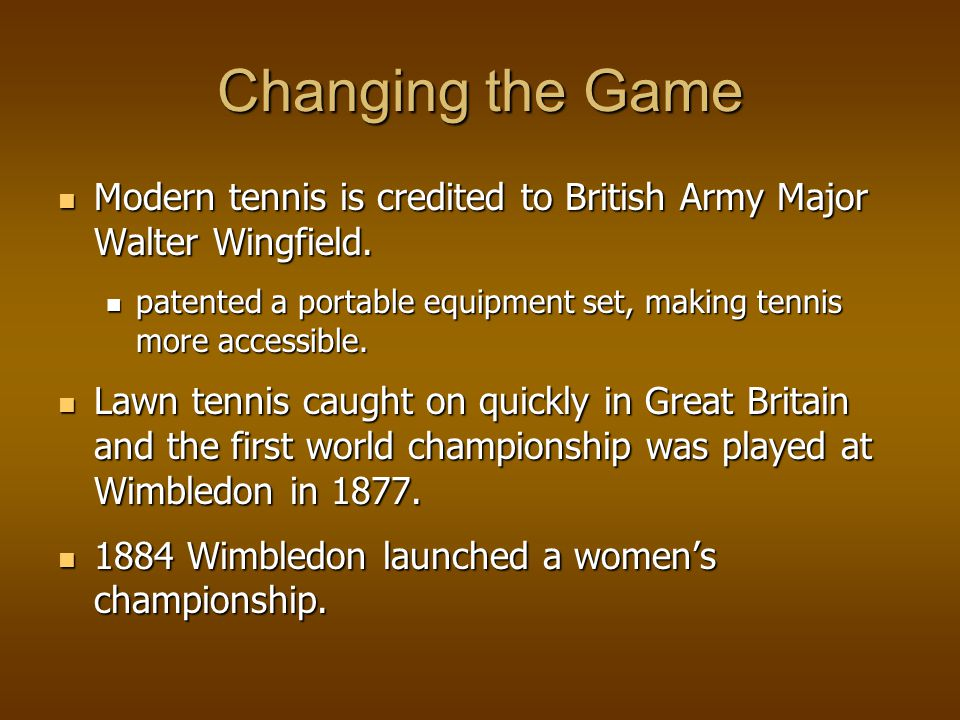Tennis Comes to the United States Tennis came to the United States around 1874, via a New Yorker, Mary Ewing Outerbridge, who was introduced to the game by a friend of Major Wingfields.