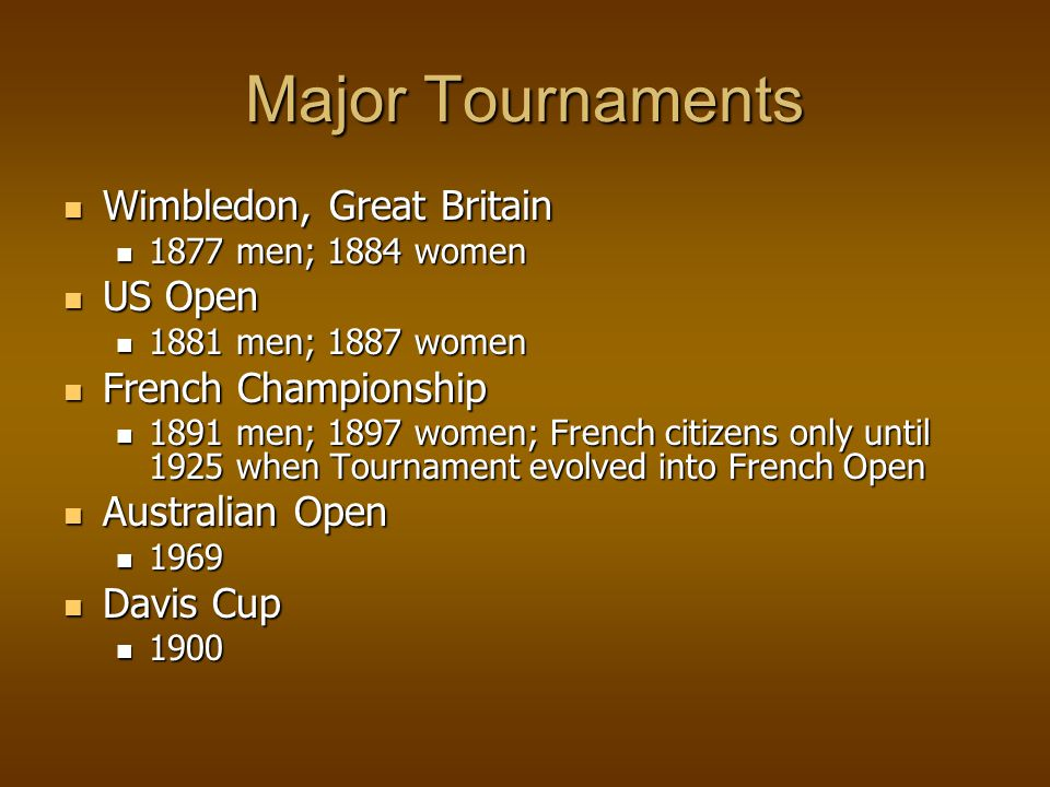 Grand Slam Four major championships are won in one year Four major championships are won in one year Wimbledon, French Open, US Open, Australian Open Wimbledon, French Open, US Open, Australian Open American Don Budge was first winner 1838 American Don Budge was first winner 1838 Most recently Stephi Graf won in 1988 Most recently Stephi Graf won in 1988 Serena Williams won in 2002 & 2003 Serena Williams won in 2002 & 2003