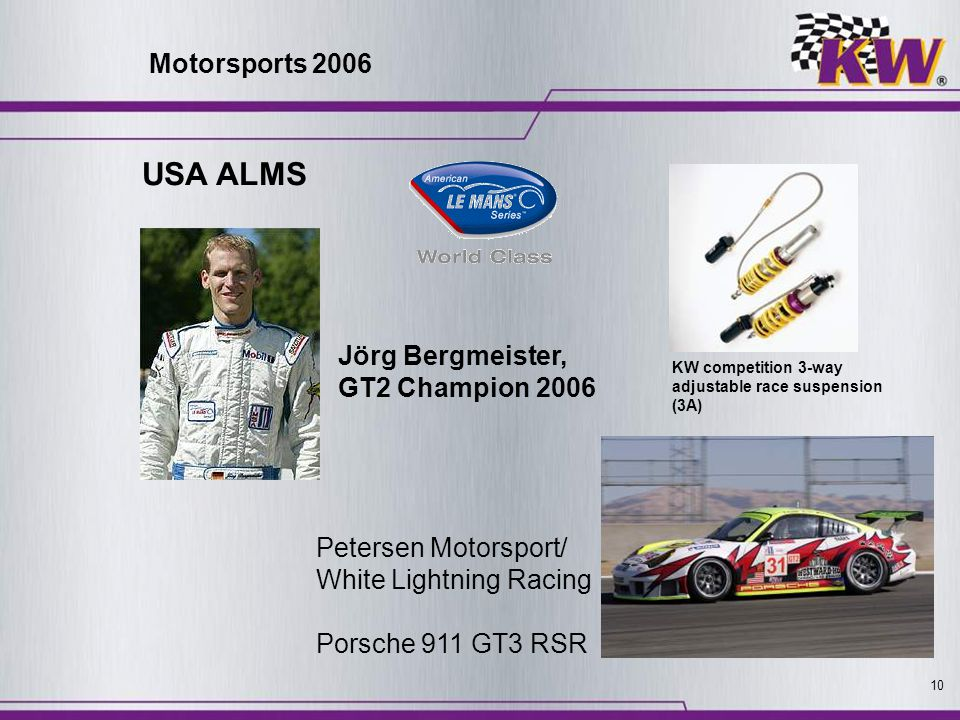 10 Petersen Motorsport/ White Lightning Racing Porsche 911 GT3 RSR Jörg Bergmeister, GT2 Champion 2006 KW competition 3-way adjustable race suspension