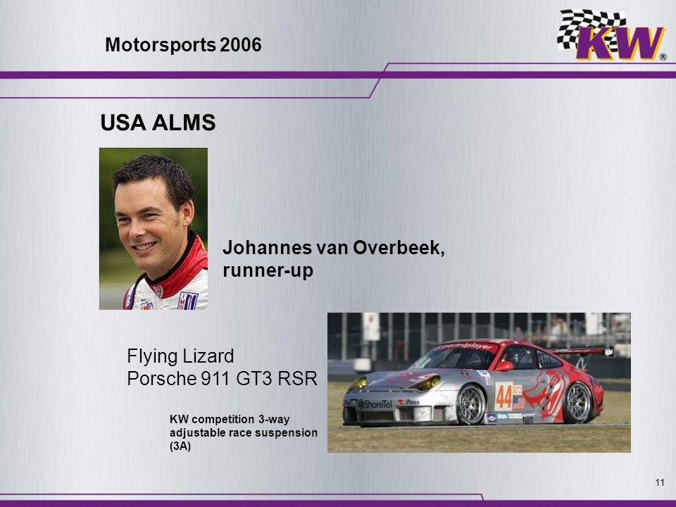 11 Flying Lizard Porsche 911 GT3 RSR Johannes van Overbeek, runner-up KW competition 3-way adjustable race suspension (3A) USA ALMS Motorsports 2006