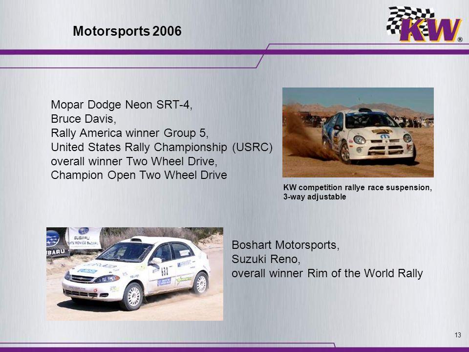 13 Mopar Dodge Neon SRT-4, Bruce Davis, Rally America winner Group 5, United States Rally Championship (USRC) overall winner Two Wheel Drive, Champion