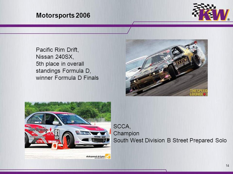 14 Pacific Rim Drift, Nissan 240SX, 5th place in overall standings Formula D, winner Formula D Finals SCCA, Champion South West Division B Street Prep