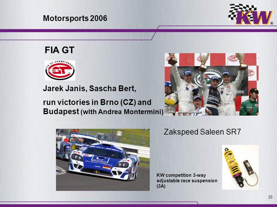 20 FIA GT Jarek Janis, Sascha Bert, run victories in Brno (CZ) and Budapest (with Andrea Montermini) Zakspeed Saleen SR7 KW competition 3-way adjustab