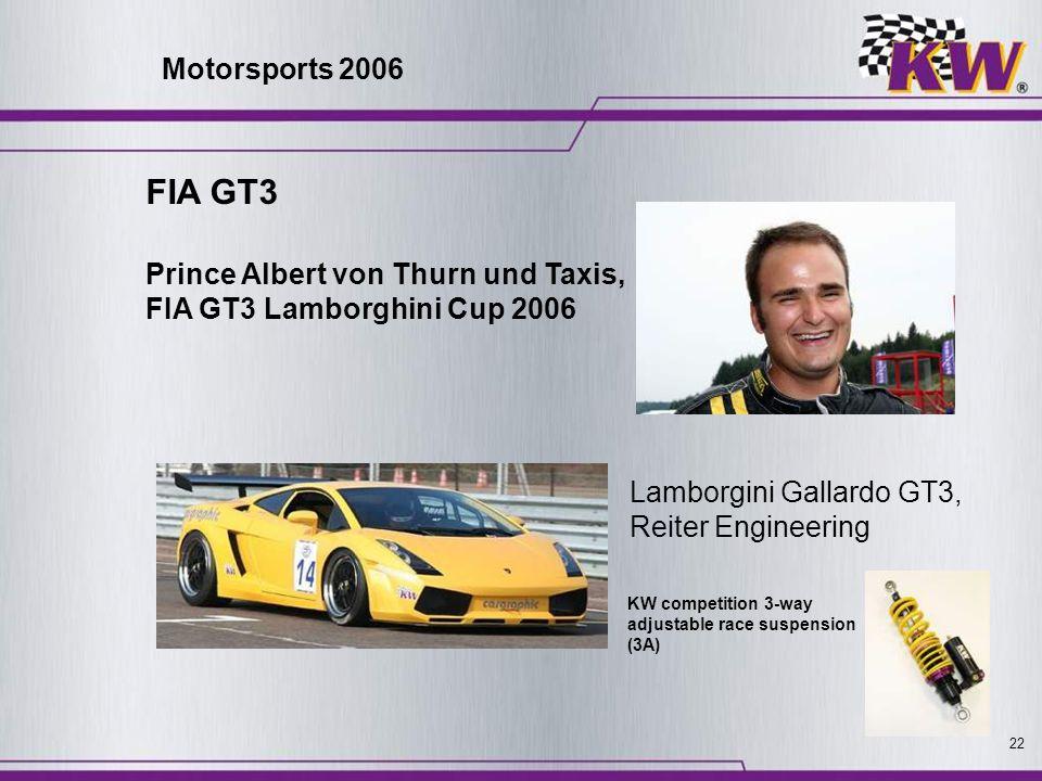 22 Prince Albert von Thurn und Taxis, FIA GT3 Lamborghini Cup 2006 Lamborgini Gallardo GT3, Reiter Engineering KW competition 3-way adjustable race su
