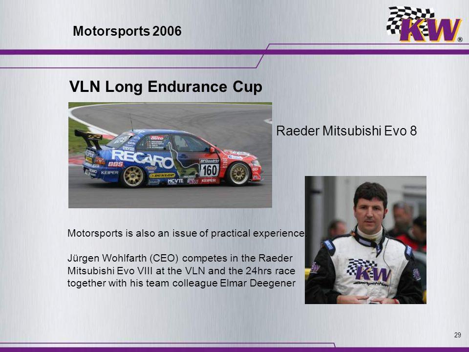 29 Raeder Mitsubishi Evo 8 Motorsports is also an issue of practical experience. Jürgen Wohlfarth (CEO) competes in the Raeder Mitsubishi Evo VIII at