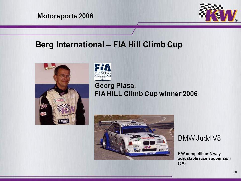 30 Berg International – FIA Hill Climb Cup BMW Judd V8 Georg Plasa, FIA HILL Climb Cup winner 2006 KW competition 3-way adjustable race suspension (3A