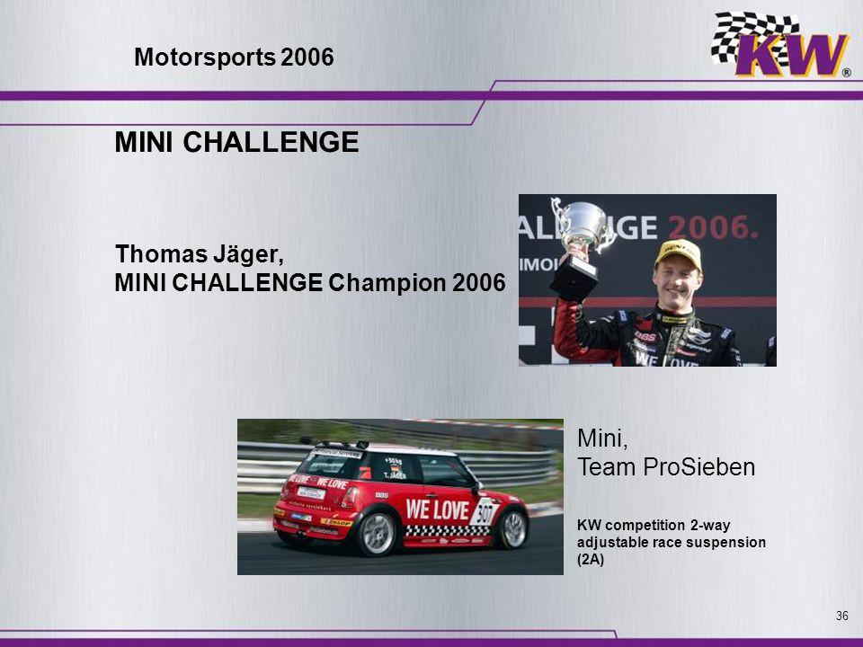 36 MINI CHALLENGE Thomas Jäger, MINI CHALLENGE Champion 2006 Mini, Team ProSieben KW competition 2-way adjustable race suspension (2A) Motorsports 200