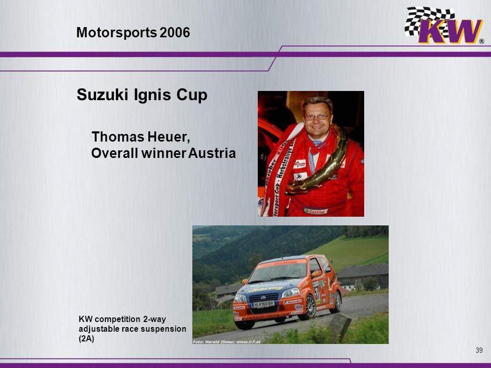 39 Thomas Heuer, Overall winner Austria KW competition 2-way adjustable race suspension (2A) Suzuki Ignis Cup Motorsports 2006