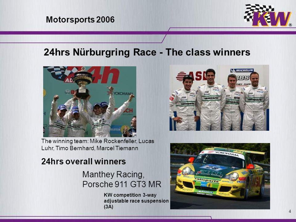 4 Manthey Racing, Porsche 911 GT3 MR The winning team: Mike Rockenfeller, Lucas Luhr, Timo Bernhard, Marcel Tiemann KW competition 3-way adjustable ra